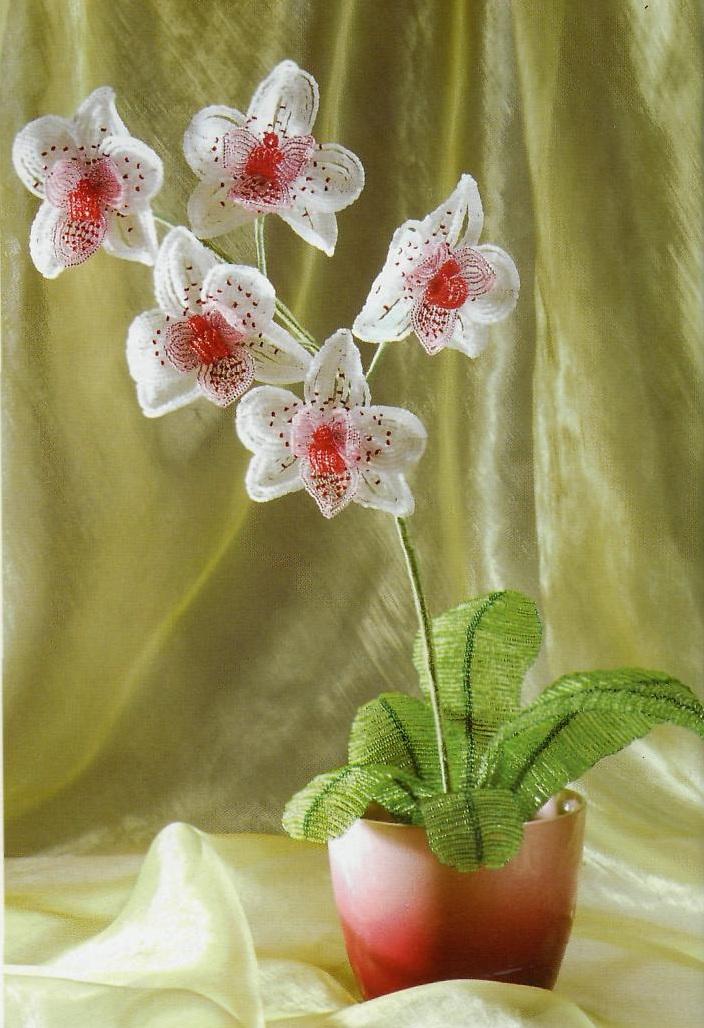 Орхидея белая из бисера мастер класс с пошаговым фото