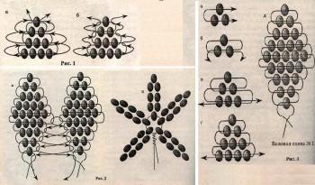 схема плетение цветов из бисера