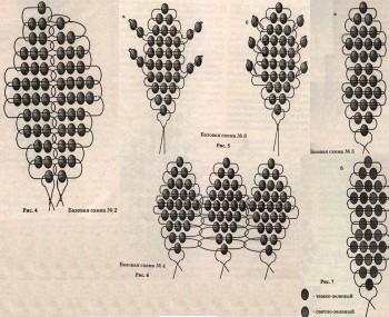 Схемы лепестков из бисера.