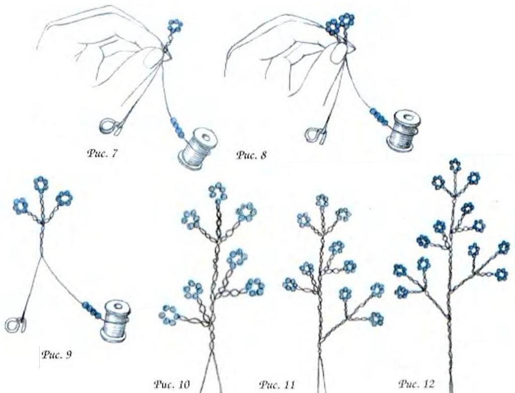 схема плетения цветов. Бисер