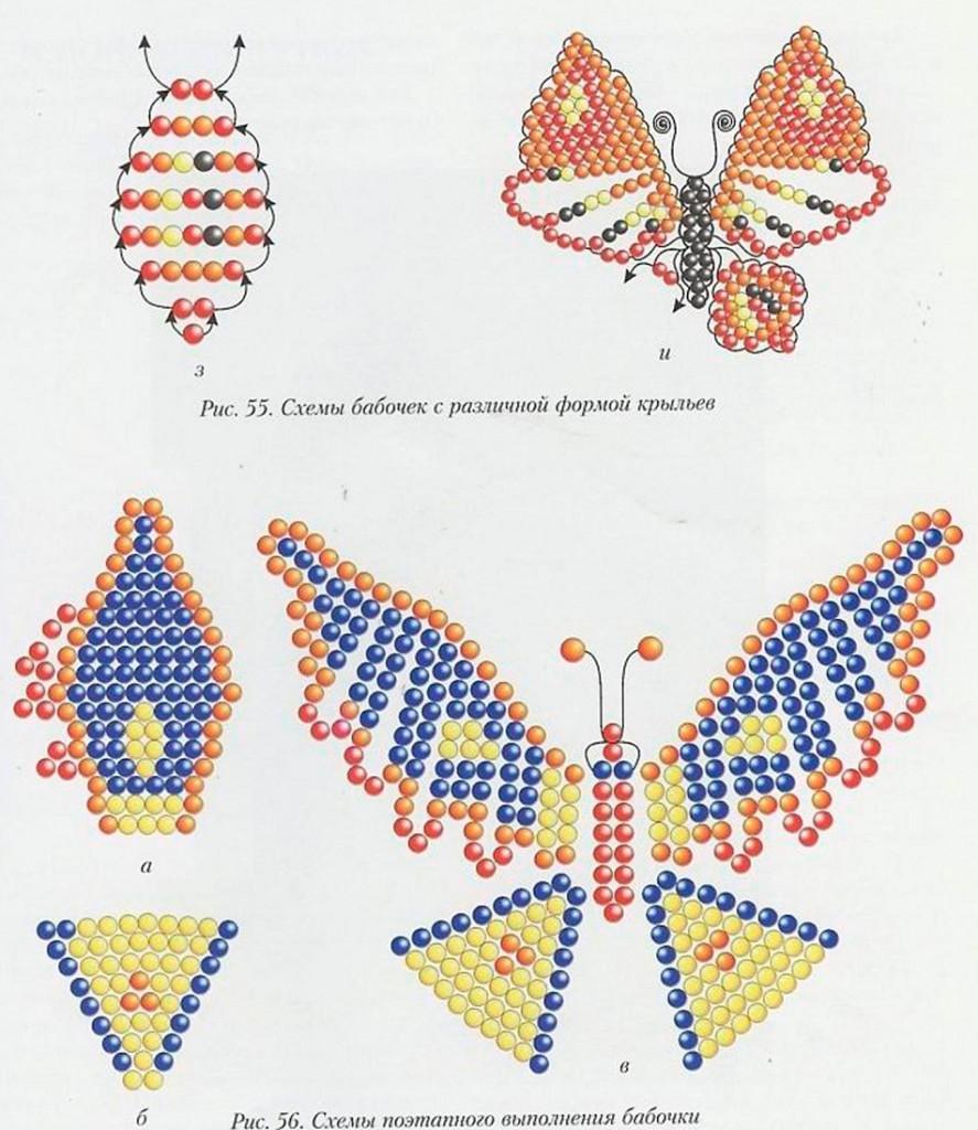 Бабочки сплетённые из бисера