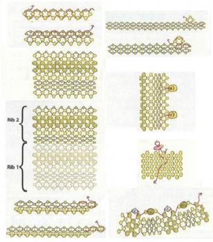 Схема плетения колье из золотого бисера