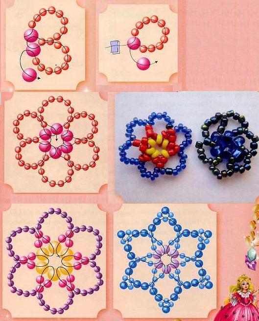 Цветы - аппликации из бисера могут быть меленькими или большими...