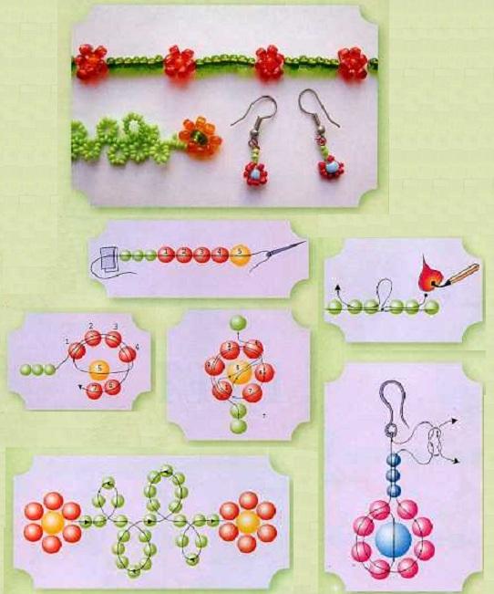 Плетение из бисера браслетов.  Техника плетения украшений с цветочками.