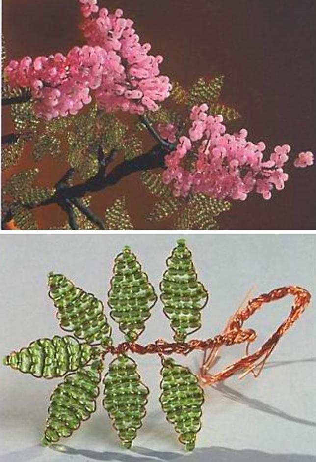 Плетение листиков и цветков из бисера.
