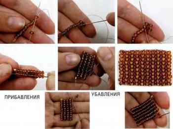 Прямое плотное плетение из бисера