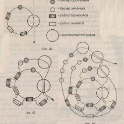 схема спирального жгута из зеленого бисера