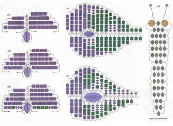 плетение бабочки фиолетово-зеленого цвета