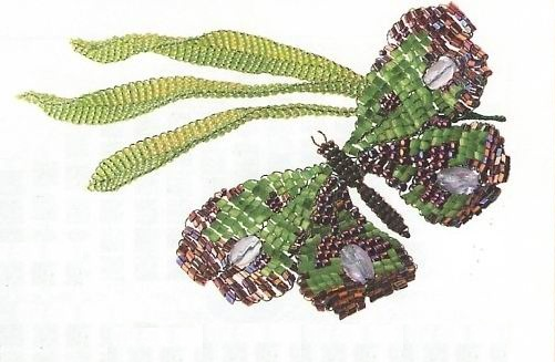 бабочка фиолетово-зеленая из бисера. сплетенная бабочка из рубки.