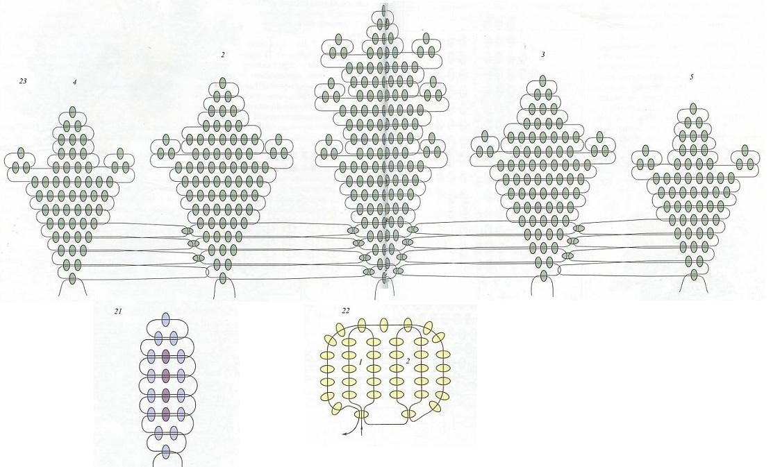 схема плетения подснежника из бисера.