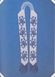 """гердан """"Гжель"""" из белого и синего бисера"""