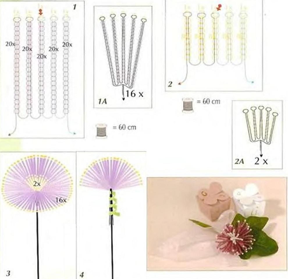 Плетение бисером схемы хризантема