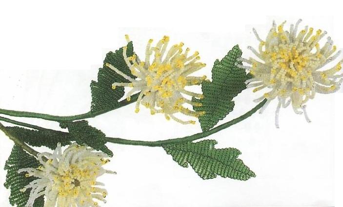 цветы хризантемы из бисера