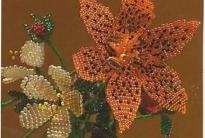 Оранжевая лилия из бисера