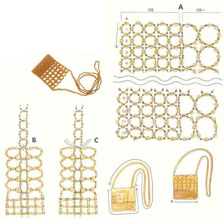 схема плетения сумочки из кристаллов. схема косметички из бусин.