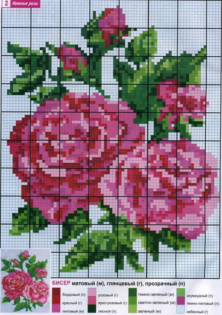 схема розы для вышивки бисером