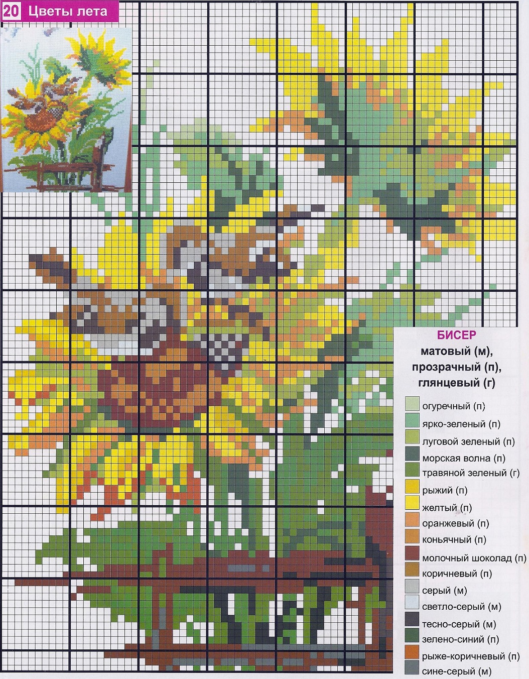 Вышивка крестом цветы подсолнухов фото схемы.