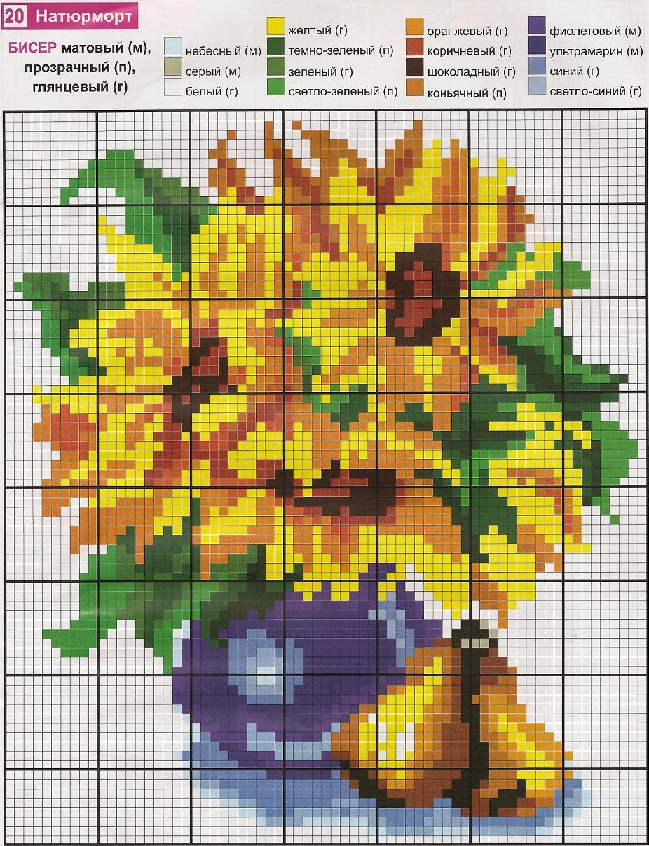 Вышивка подсолнухов бисером Красивые букеты из желтых и лучистых подсолнухов.  Хорошо поднимают настроение и оживят...