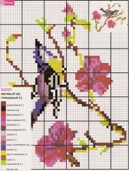схема вышивки птицы