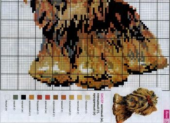 схема коричневой собаки для вышивки бисером