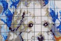 схема вышивки белого пса из бисера