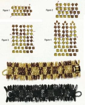 схема плетения широкиз браслетов из рубки