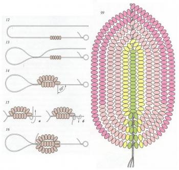 схема лепестков клематиса из бисера