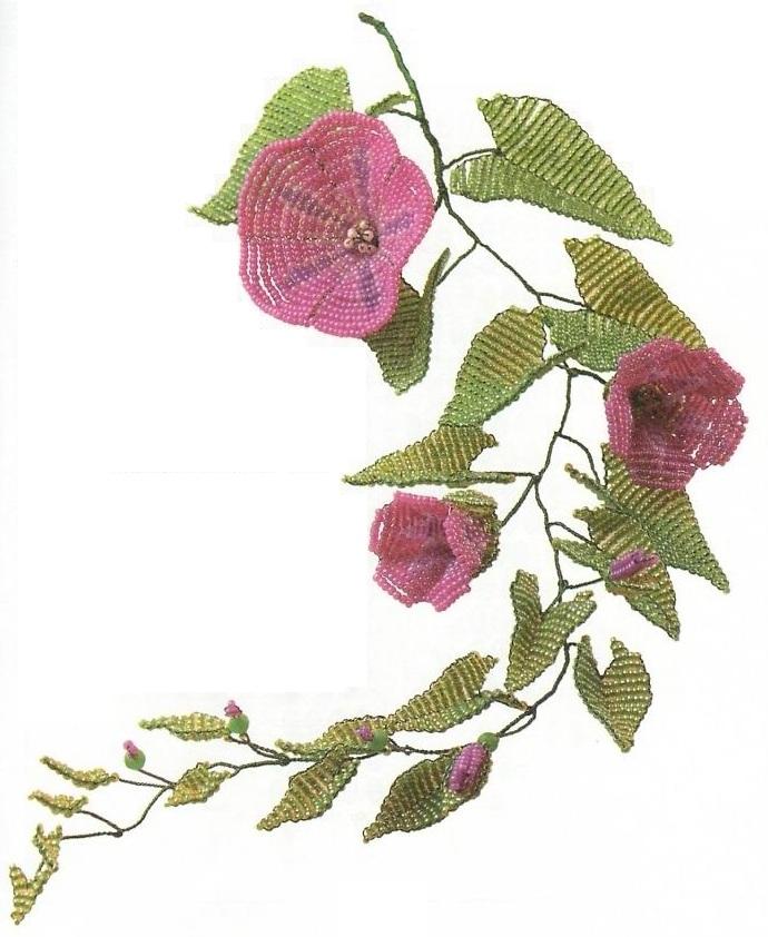 вьюнок сплетенный из бисера. цветок вьюнок из бисера.