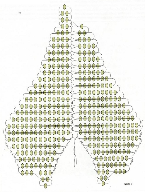 схема листа вьюнка из бисера