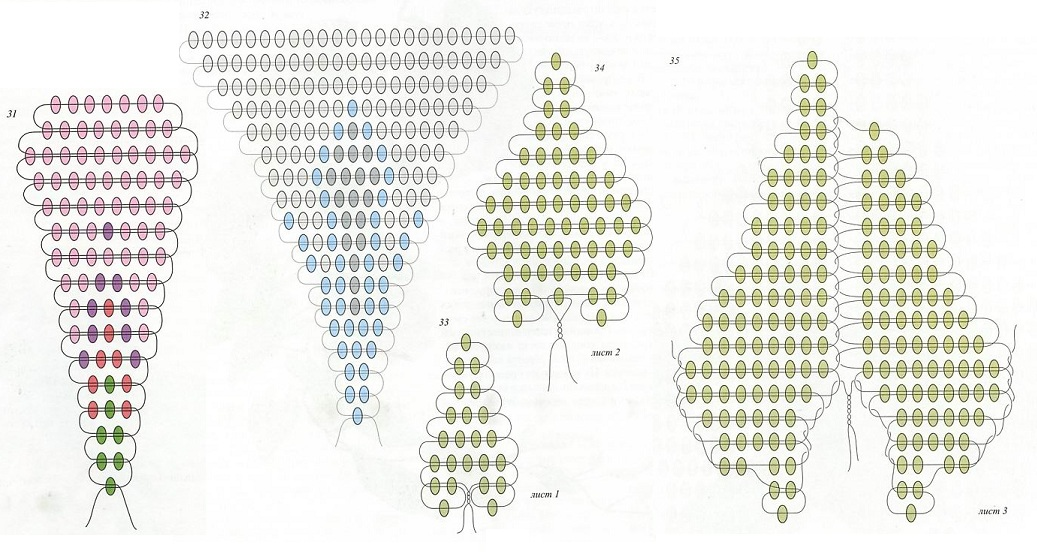 плетение розового вьюнка из бисера. схема плетения вьнка из бисера.