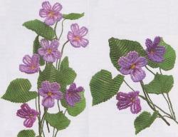плетение лесной фиалки из бисера