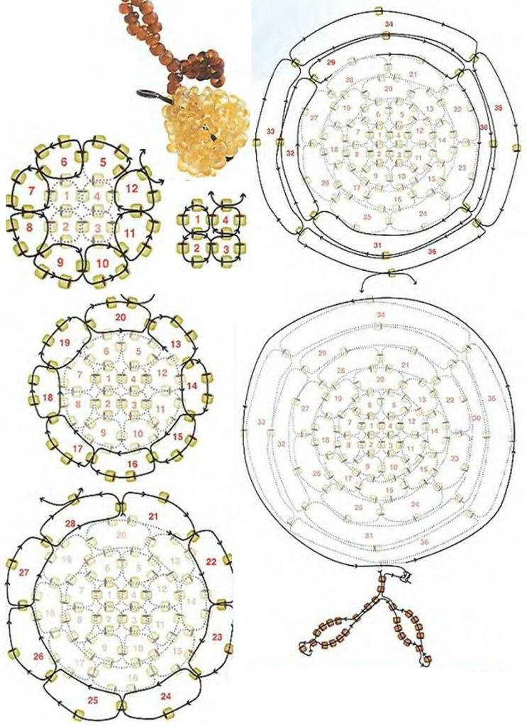 плетение желтой груши из бисера