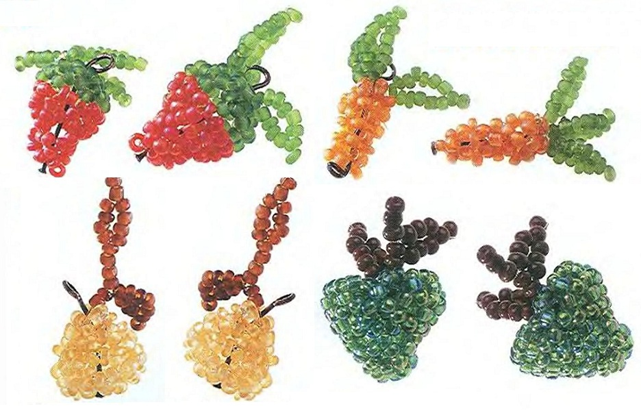 Разнообразные фрукты и овощи сплетенные из бисера.  Отличные брелки для ключей или мобильного телефона.