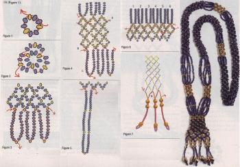 схема плетения гердана из бисера