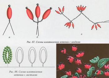 схема плетения куста барбариса из бисера