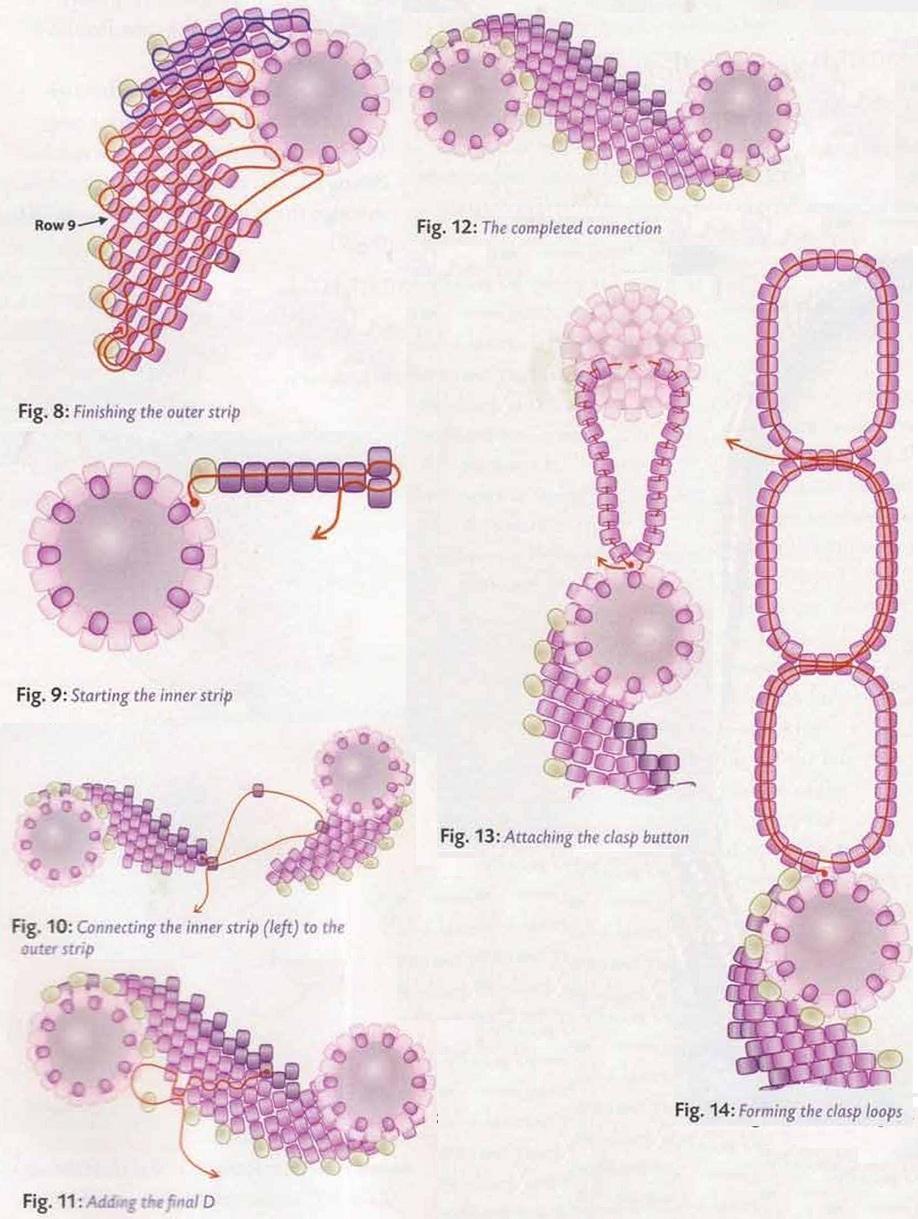 плетение колье из бусин и рубки. схема плетения колье из розовой рубки.