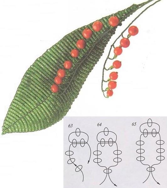 схема плетения цветов ландыша