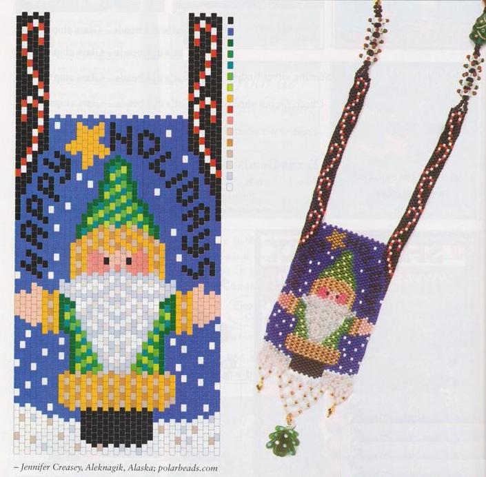 изделия для Нового года сплетенные из бисера. новогодние сумочки из бисера.