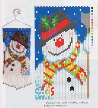 Снеговик сплетенный из бисера