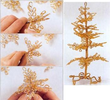Миниатюрный бонсай из золотого бисера