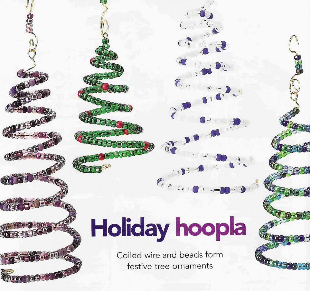 Елочки-спиральки на Новый год, из бисера
