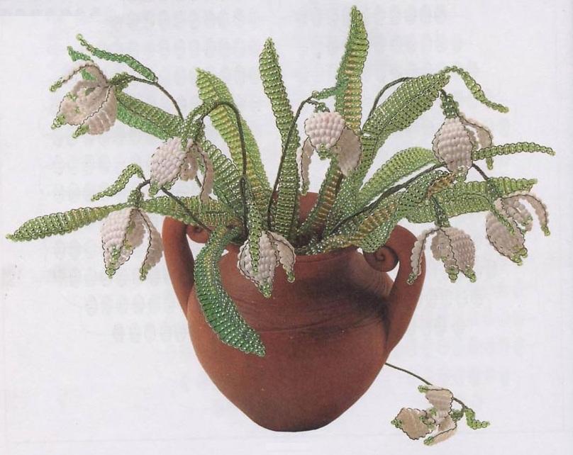 цветы подснежники из бисера