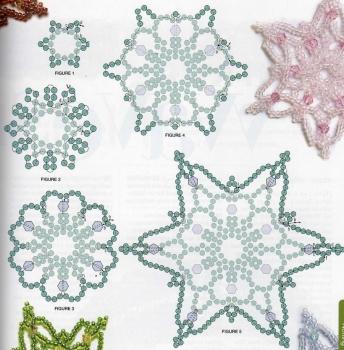 плетение разноцветных снежинок из бисера