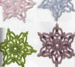 красивые снежинки сплетенные из бисера