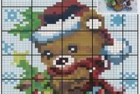 Вышивка рождественского мишки бисером