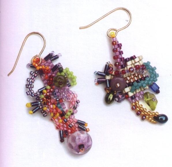 Отличные фантазийные серьги из бисера, рубки и бусин.  Плетение серег без конкретной схема, а руководствуясь своей...