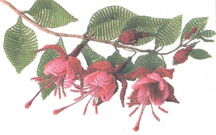Схема бисероплетения - комнатный цветок фуксия.
