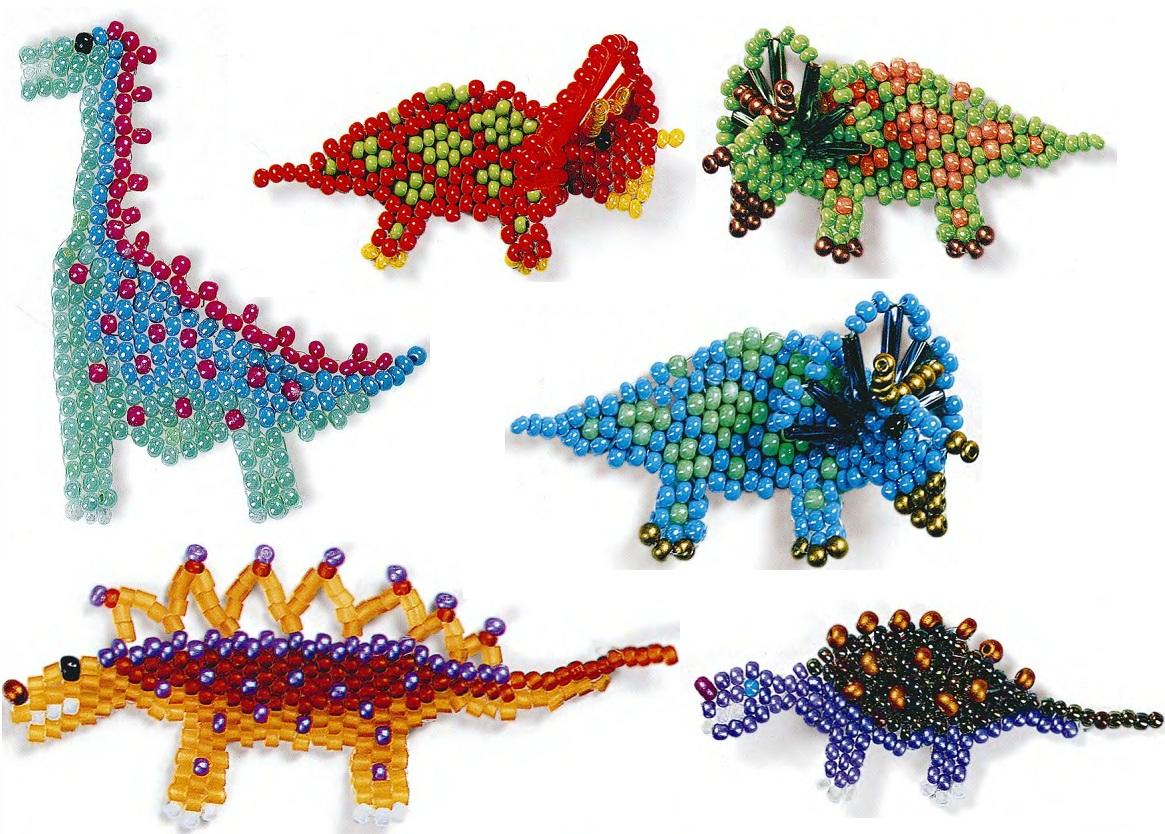 динозавры из разноцветного бисера. сувениры своими руками. динозавры из бисера.