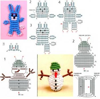схема плетения зайца и снеговика из бисера