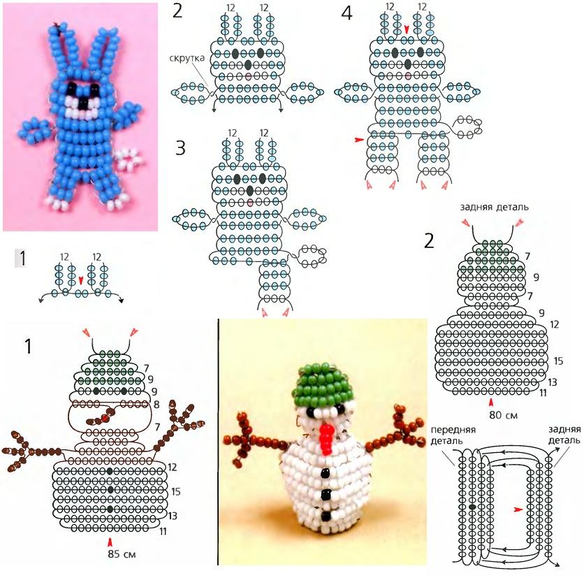 картинки схемы плетения животных из бисера модель
